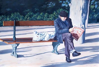 «leyendo el periódico gratuito»