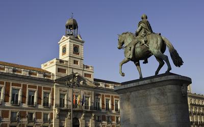 La estatua ecuestre de Carlos III, en Sol.